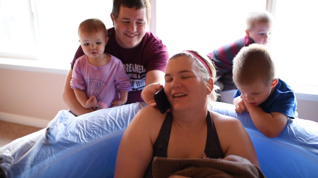 husbands support during labor home water birth with three children present